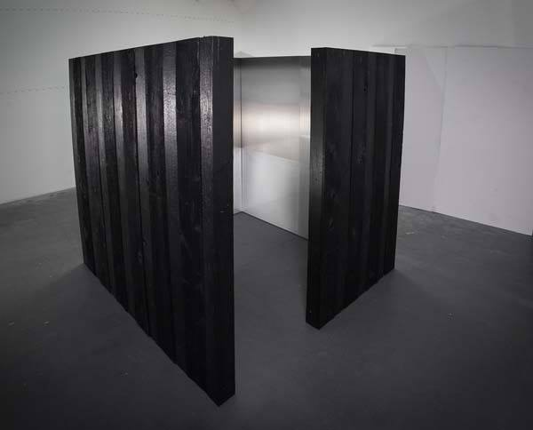 Shou Sugi Ban, charred wood structure, interior paintings, pigment, urethane, aluminum, 84 x 84 x 84 inches, 2015