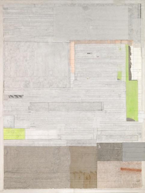 潇湘八景之三,2010,水墨,色,宣纸拼贴于亚麻布,125 x 95 cm