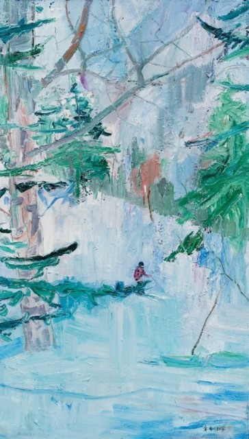 Skiing, 2016, Oil on canvas, 200 x 140 cm