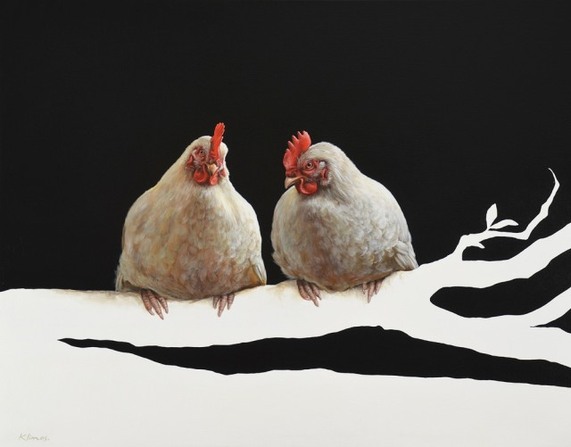 <p>Alexandra Klimas</p><p>&#34;Miep the Chicken and Lellebel the Chicken&#34;</p><p>Oil on canvas</p><p>80 x 100 cm</p>