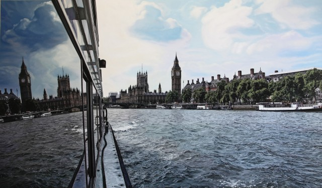 "Daniel Cuervo  ""London Waterways""  Oil on board  82 x 140 cm"