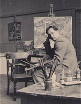 Michael Canney in Perranporth studio, 1950s