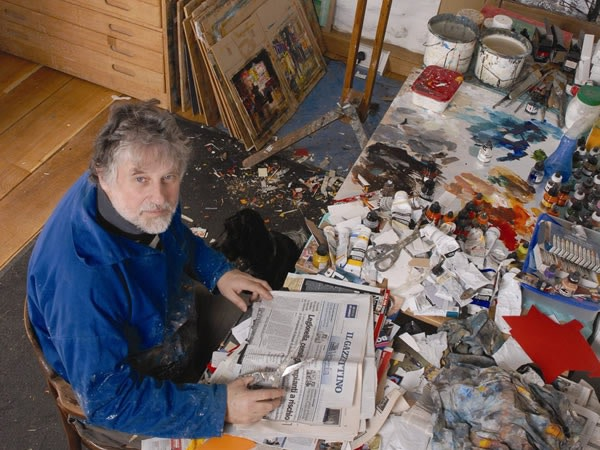 Mike Bernard at work in his studio
