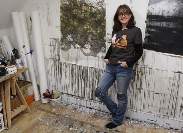 Sara Dudman in her studio