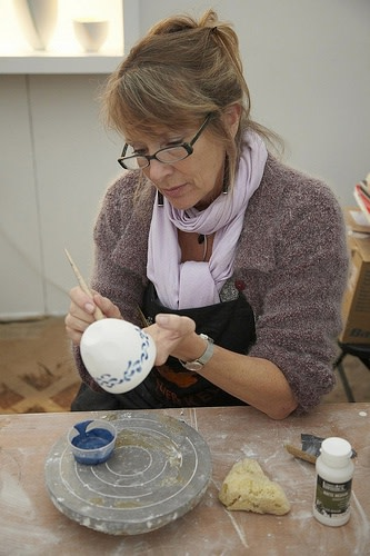 Sasha Wardell at work in her studio