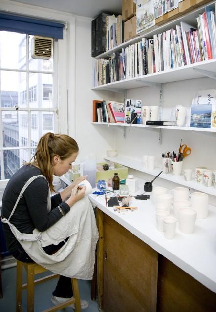 Helen Beard working in her studio