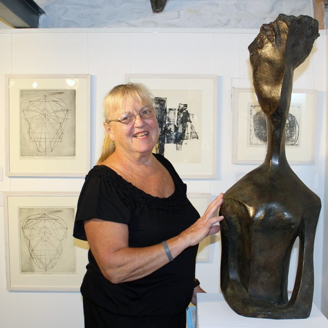 Margaret Lovell with 'Augustine Head' sculpture