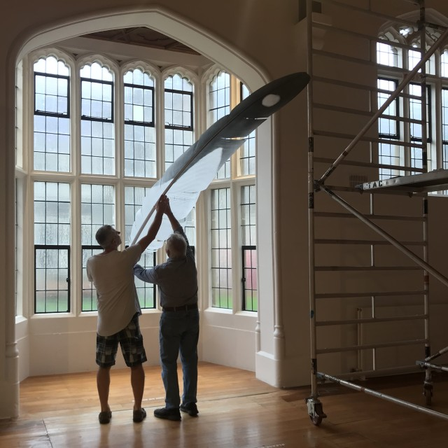 Neil Dawson and Jonathan Smart installing Feather (Gull), March 2019, The Central Art Gallery