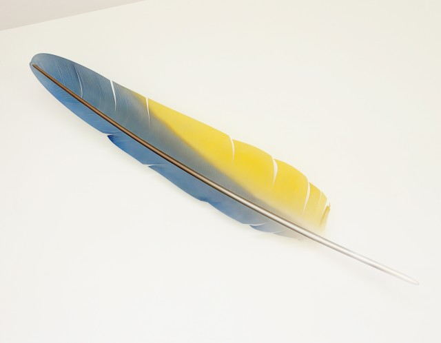 Neil Dawson Macaw Wing Feather, 2019 Polycarbonate, aluminium, acrylic and automotive paint. 1760 x 300 x 325 mm