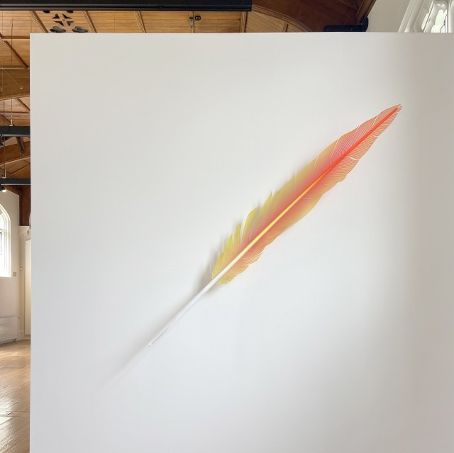 Neil Dawson Macaw Tail Feather Red, 2019 Aluminium, acrylic, polycarbonate and automotive paint 1900 x 250 x 300mm