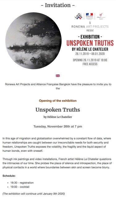 """The Alliance Francaise Bangkok and Ronewa Art Projects Present, - Exhibition - """"UNSPOKEN TRUTHS"""" by Helene Le Chatelier"""