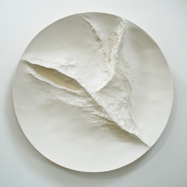 ZEPHYR , white gesso on carved wood, 109 cm d