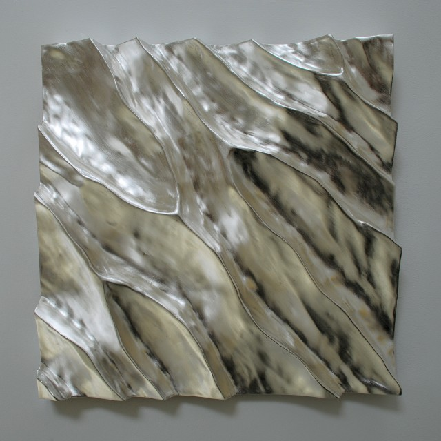 Shifting sands 11, silver on carved wood, 50 cm square