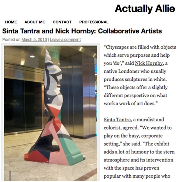Sinta Tantra and Nick Hornby: Collaborative Artists