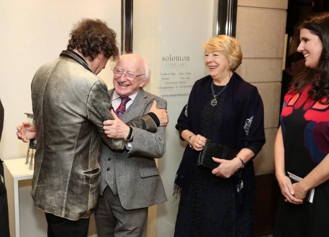 Stephen Rea greets President Higgins & Sabina Higgins