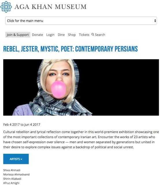 Rebel, Jester, Mystic, Poet: Contemporary Persians at Aga Khan Museum, Toronto