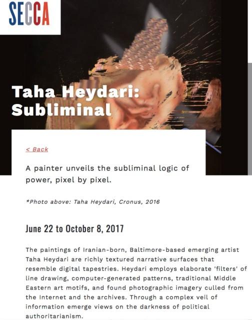 Taha Heydari - Subliminal @ SECCA (South Eastern Centre for Contemporary Art) (JUNE 22 TO OCTOBER 8 2017)