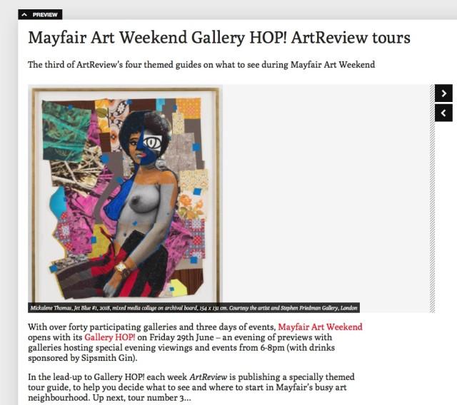 Mayfair Art Weekend Gallery HOP! ArtReview tours