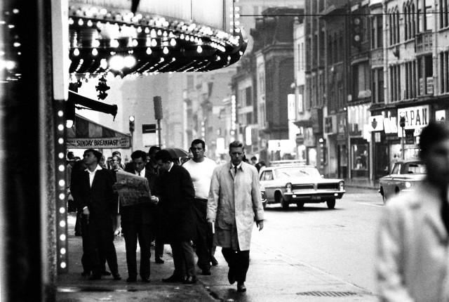 Albert Kish 1937-2015 Yonge Street, circa 1965 Signed, by the artist in pencil, au verso Dated, in ink, au verso Printed in 2002 image on 11 x 14 inch (27.94 x 35.56 cm) Gelatin silver paper 9 x 13 1/4 in 22.86 x 33.66 cm