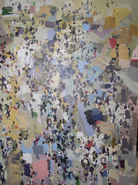 Mohamed Abla, crowd Series, Mixed media on canvas, 140x160