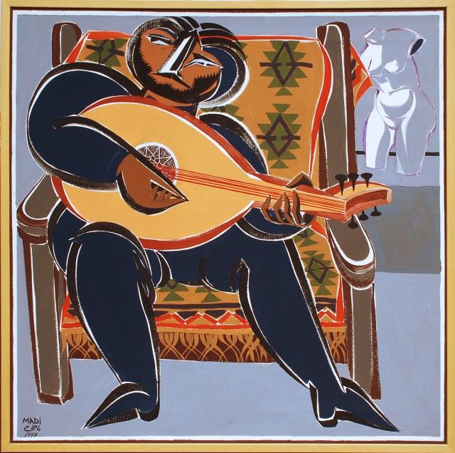 Hussein Madi, Untitled, 100x100, 1997, acrylic on canvas
