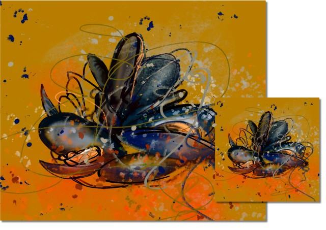 Saffron Mussels, HIGH GLOSS CORK BACKED COASTERS & PLACEMATS