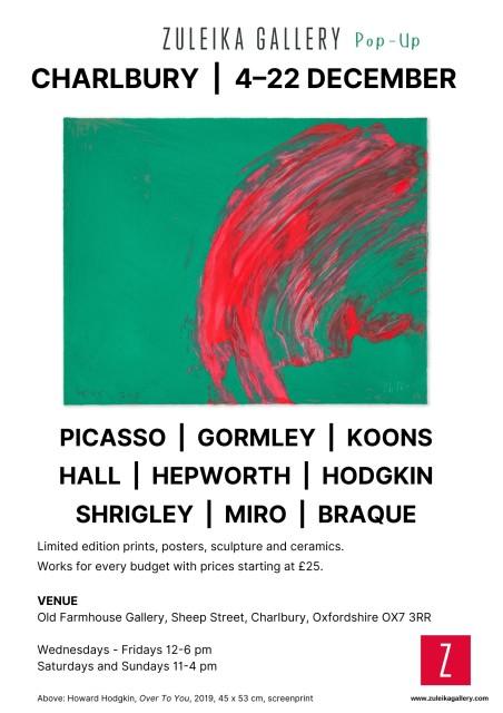 Cotswold Christmas, Picasso, Gormley, Koons, Hall, Shrigley, Hepworth, Hodgkin Braque