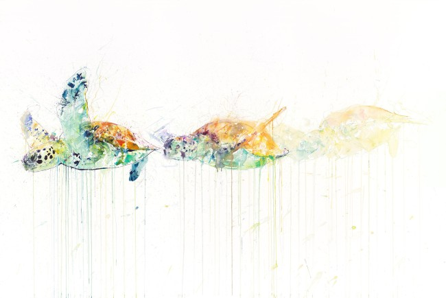 'Sea Turtle Movement', Watercolour on Arches Aquarelle, 61