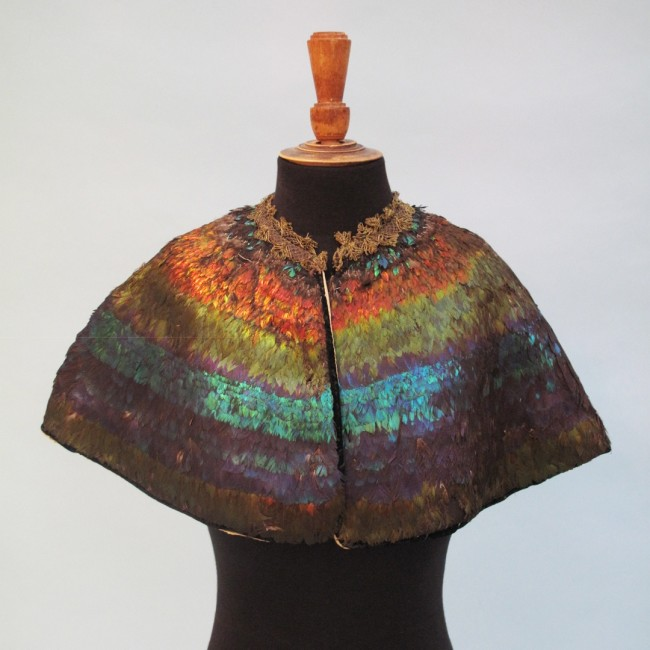 19th century irridescent feather cape