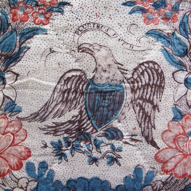 Early 19th century handblocked USA commemorative 'Eagle' quilt
