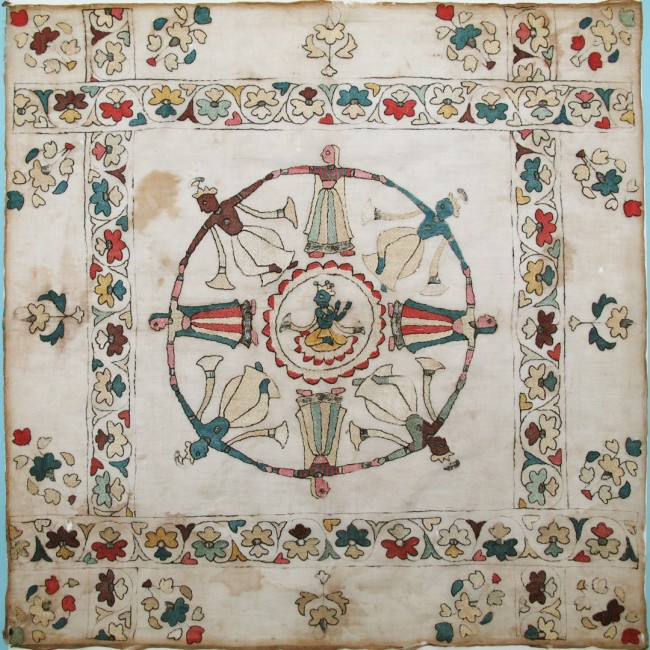 19th century Indian embroidered handkerchief
