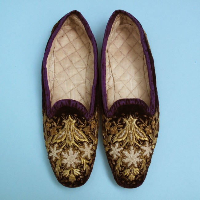 Late Victorian embroidered slippers