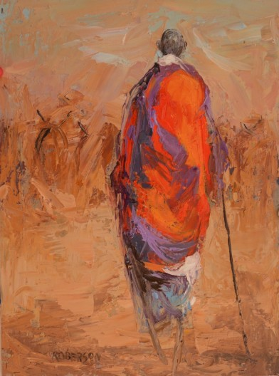 Mary Roberson, Tall Maasai Warrior Herding Cattle