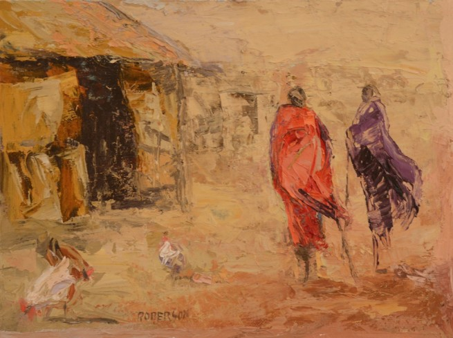 Mary Roberson, Two Maasai in Village with Chickens