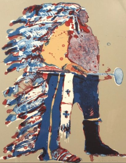 Fritz Scholder, Indian Portrait with Tomahawk State I #32/75