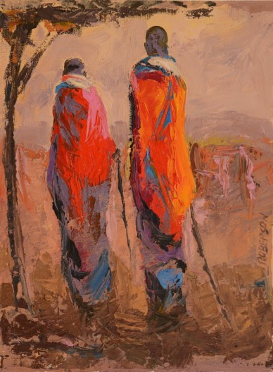 Mary Roberson, Tall Maasai Couple at Sunset