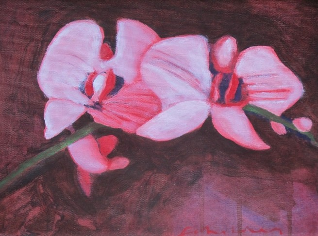 Fritz Scholder, Two Pink Orchids, 2003