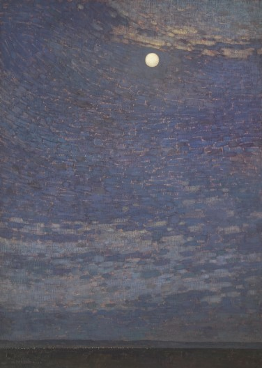 David Grossmann, Swirling Night Sky with Full Moon