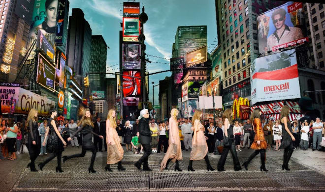 Karl Lagerfeld in Times Square, Editorial for Harper's Bazaar 2006, NYC