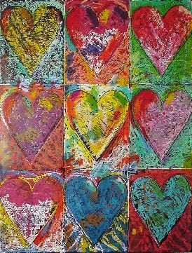 Jim Dine, The Big Wall of Hearts, 2002