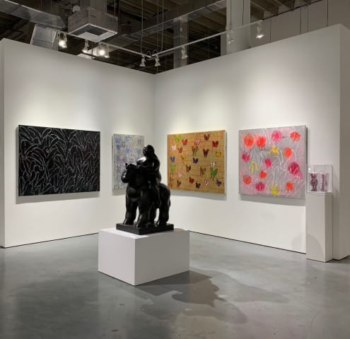 Works by Hunt Slonem, Fernando Botero and KAWS in the Summer Selections exhibition.