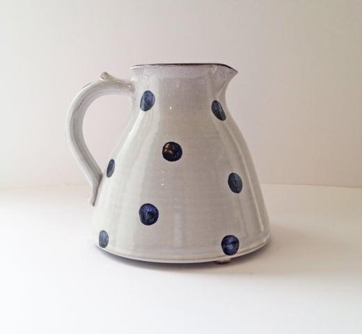 Tydd Pottery , Jug - Spots, Blue on White Medium , 2019