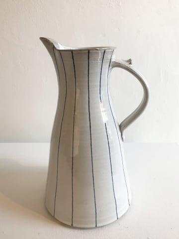 Tydd Pottery, Blue, Narrow Stripe on White, Tall Jug