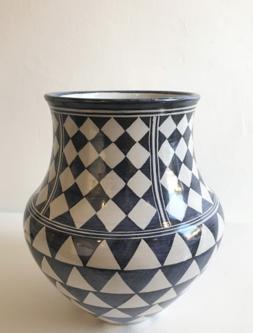Tydd Pottery, Triangle and Checkerboard, Large Vessel