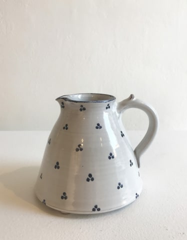 Tydd Pottery, Blue Tri-Spots on White, Small Jug