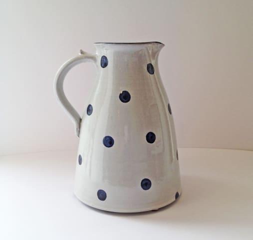 Tydd Pottery , Jug - Spots, Blue on White - Large , 2019