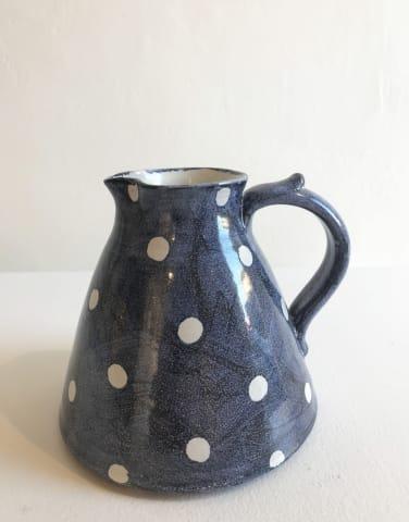 Tydd Pottery, White Spots On Blue, Medium Jug