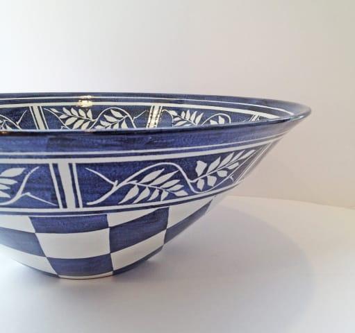 Tydd Pottery , Bowl - Checks & Wisteria , 2019