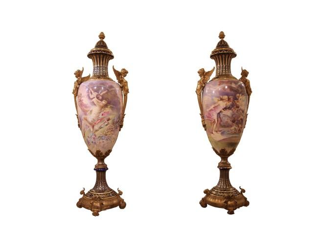 Pair of Sèvres porcelain vases