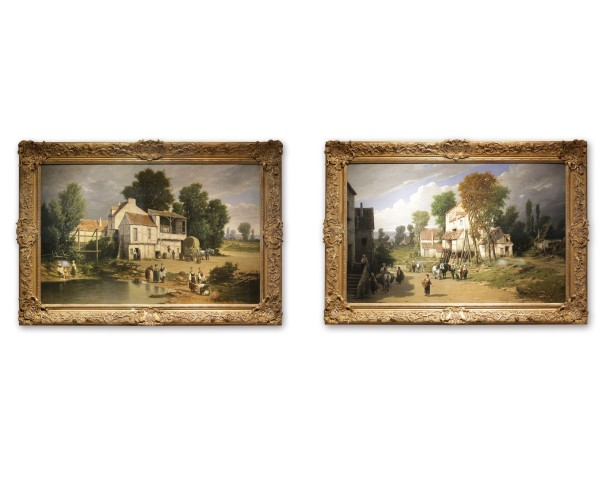 Pair of paintings: Peasants by the Pond & Entrance to the village